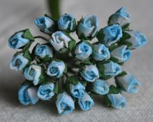 4mm CYAN BLUE ROSE BUDS Mulberry Paper Flowers